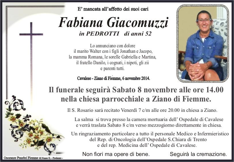 Giacomuzzi Fabiana Ziano, necrologio Fabiana Giacomuzzi in Pedrotti