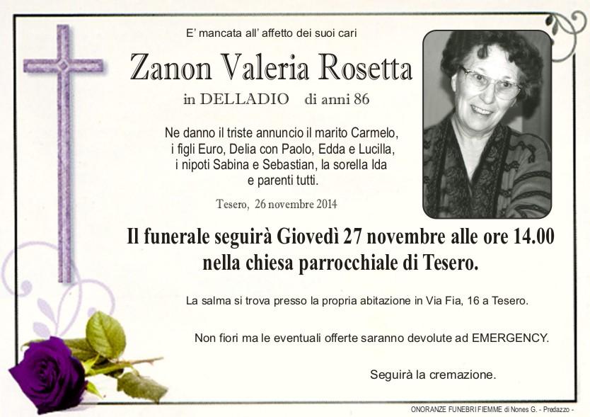 Zanon Valeria Rosetta Tesero, necrologio Zanon Valeria Rosetta