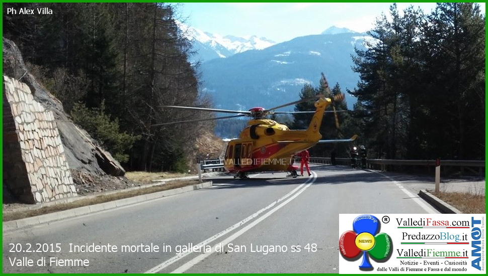 elisoccorso fiemme incidente galleria san lugano 1 Tragico incidente in galleria, muore Luigi Corradino di Egna