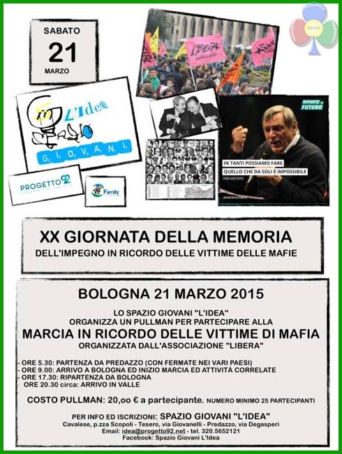 giornata della memoria Giovani di Fiemme alla 20° Giornata della Memoria a Bologna