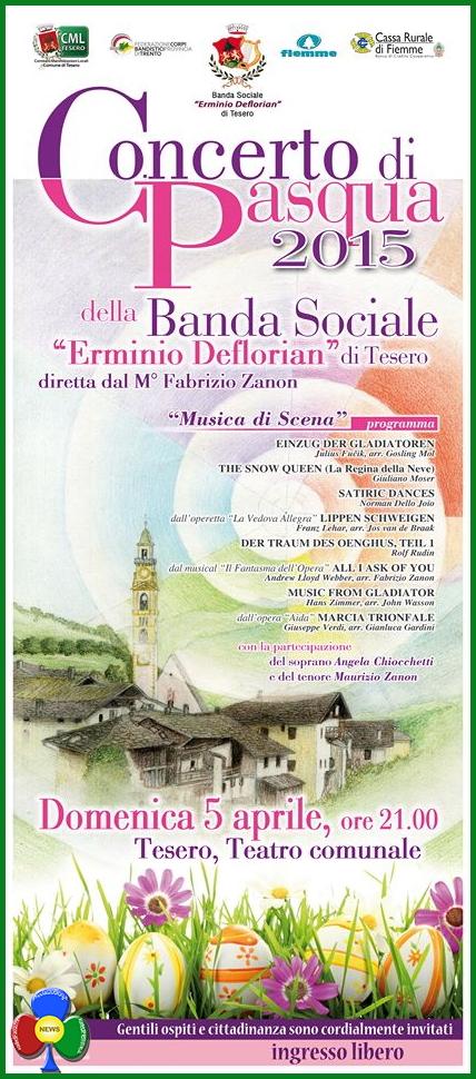 concerto pasqua 2015 banda tesero Tesero, Concerto di Pasqua della Banda Sociale