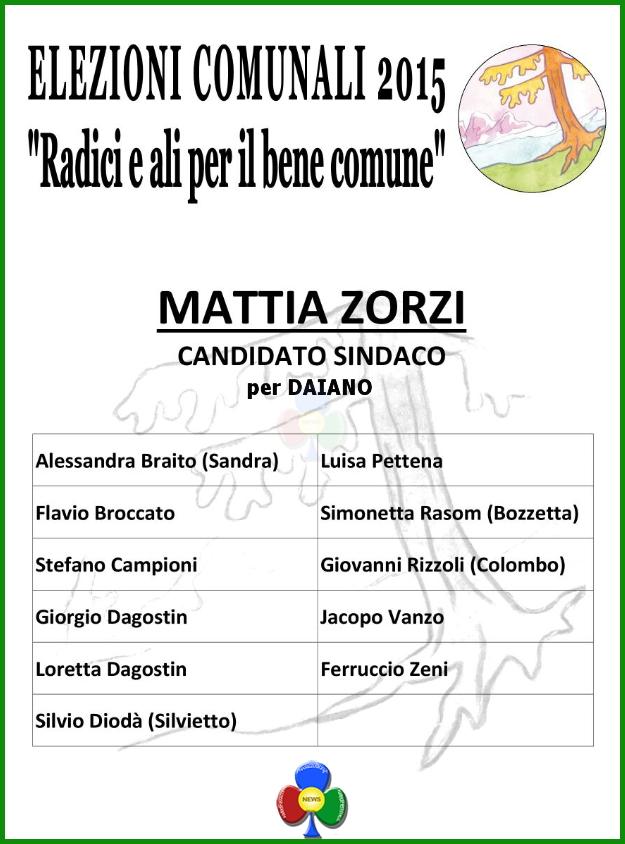 daiano lista mattia zorzi sindaco Lista Radici e ali per il bene comune Daiano candidato sindaco Mattia Zorzi