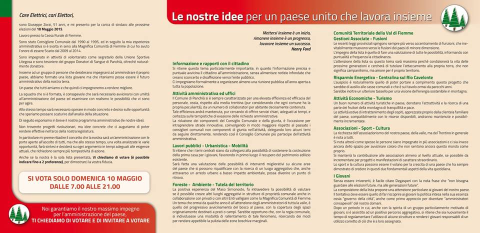programma lista tre abeti panchià La lista 3 Abeti di Panchià   I candidati