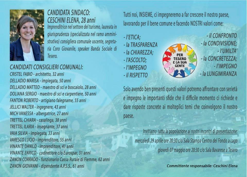 10441296 1116672551680427 7916859826436780968 n Lista Per Tesero e la sua gente candidata sindaco Elena Ceschini