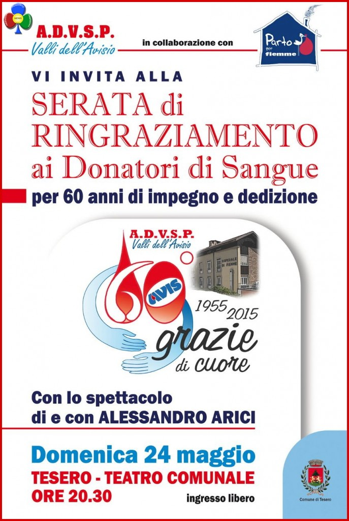 serata donatori sangue fiemme 687x1024 Serata di ringraziamento Donatori di Sangue con Alessandro Arici