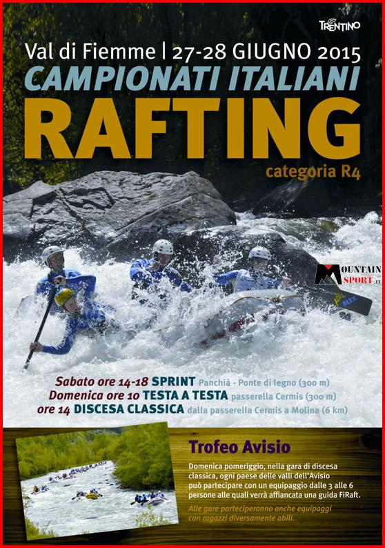 campionati italiani rafting 2015 Campionati italiani assoluti di Rafting R4 in Valle di Fiemme