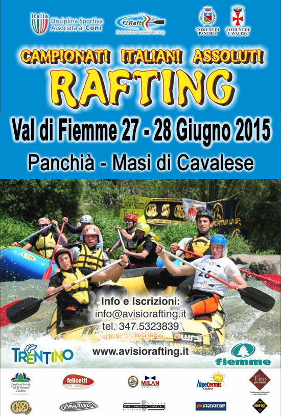 rafting programma.italiani.2015 Campionati Italiani di Rafting 2015 Valle di Fiemme