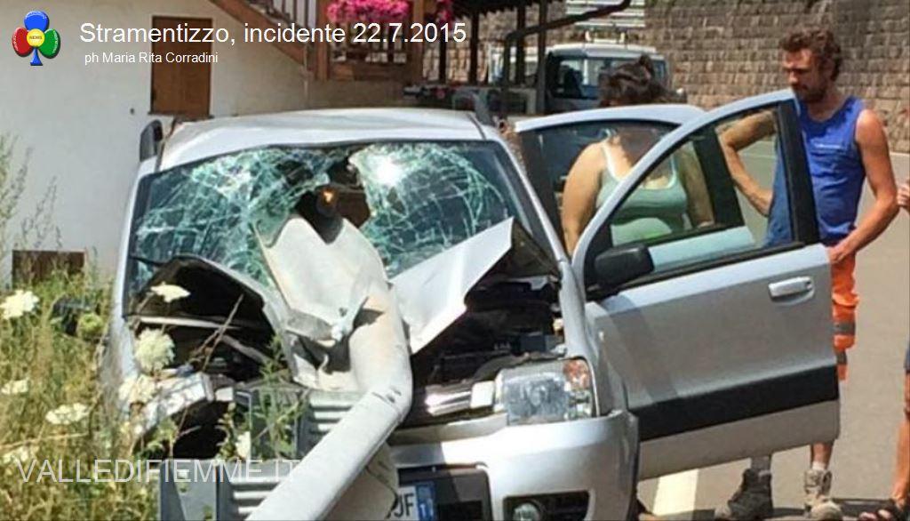 incidente stramentizzo fiemme3 Auto trafitta, salvi per miracolo a Stramentizzo