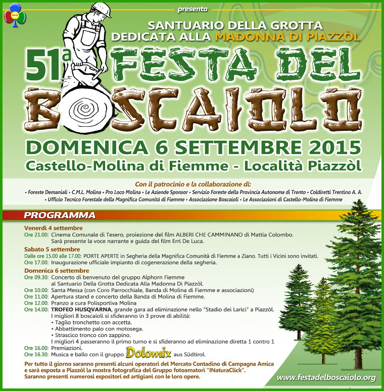 festa del boscaiolo 2015 51° Festa del Boscaiolo a Piazzol