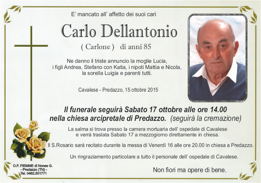 Dellantonio Carlo Necrologio Carlo Dellantonio (Carlone)