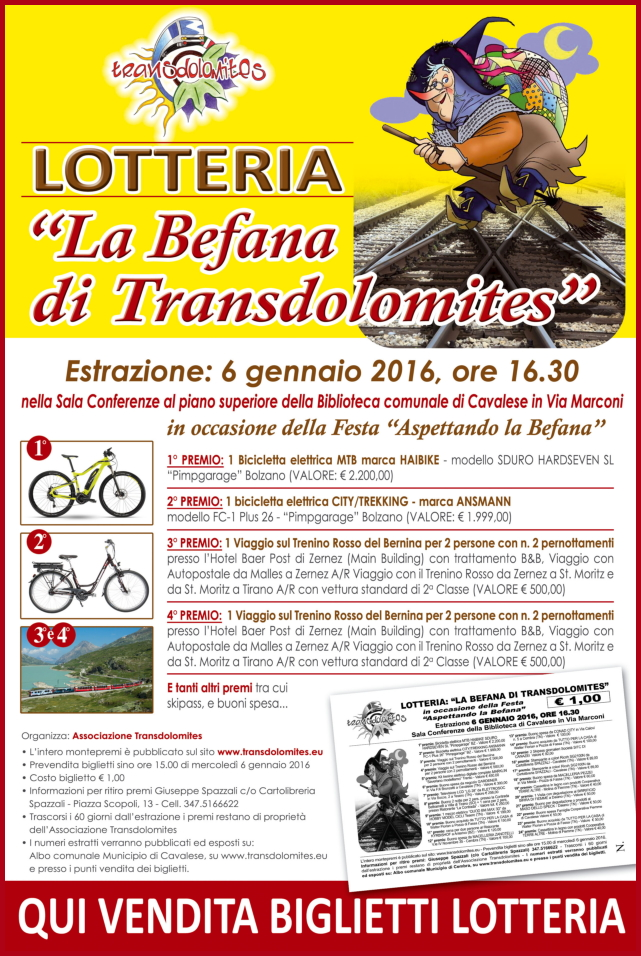lotteria transdolomites La Befana di Transdolomites, al via la lotteria