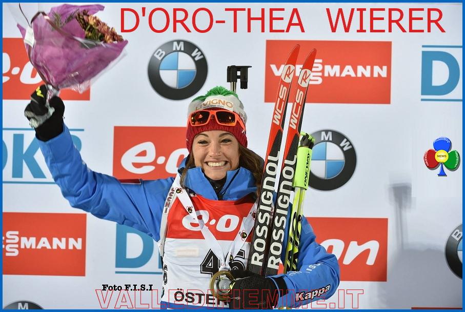 DOROTHEA WIERER fiemme Dorothea Wierer oro in Coppa del Mondo a Ostersund. Doro thea