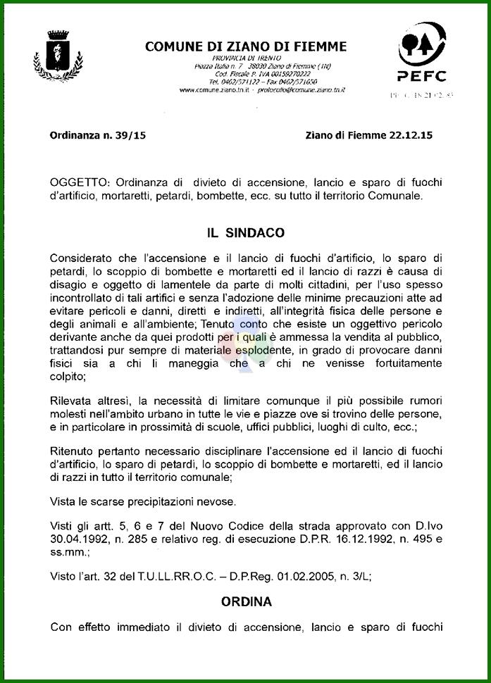 divieto botti capodanno comune ziano di fiemme I Sindaci di Ziano, Castello   Molina, Carano e Cavalese vietano fuochi dartificio e petardi
