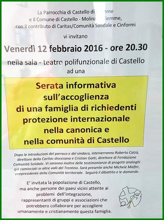 serata accoglienza castello fiemme Richiedenti asilo, serata informativa a Castello di Fiemme