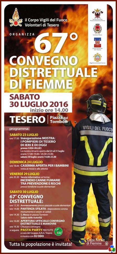 convegno distrettuale vigili del fuoco tesero 2016 Tesero, 67° Convegno Distrettuale Vigili del Fuoco