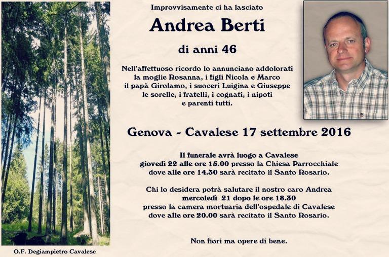 necrologio andrea berti cavalese Andrea Berti non ce lha fatta