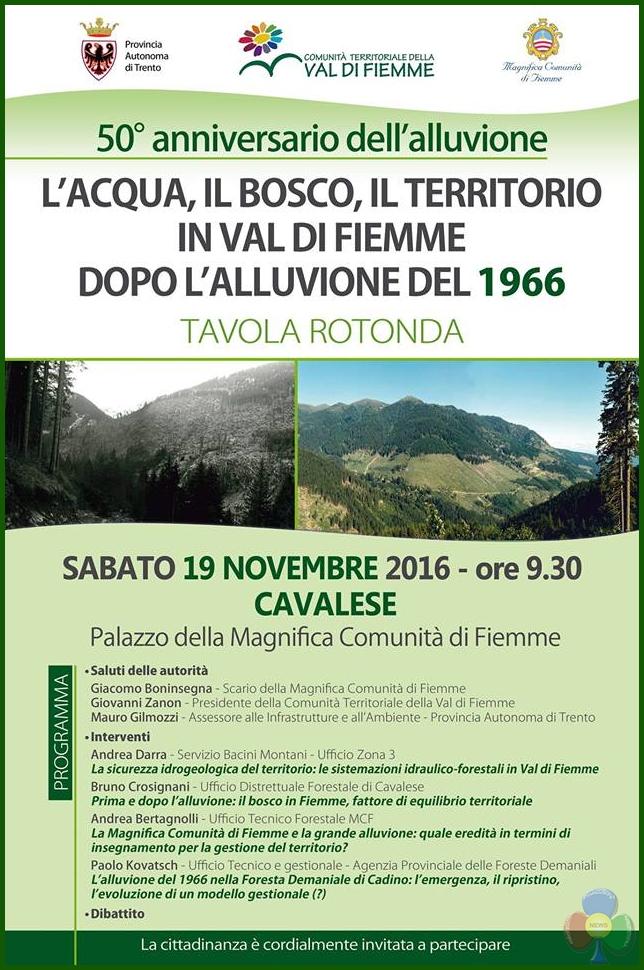 anniversario alluvione fiemme Acqua, Bosco e Territorio a 50 anni dallalluvione