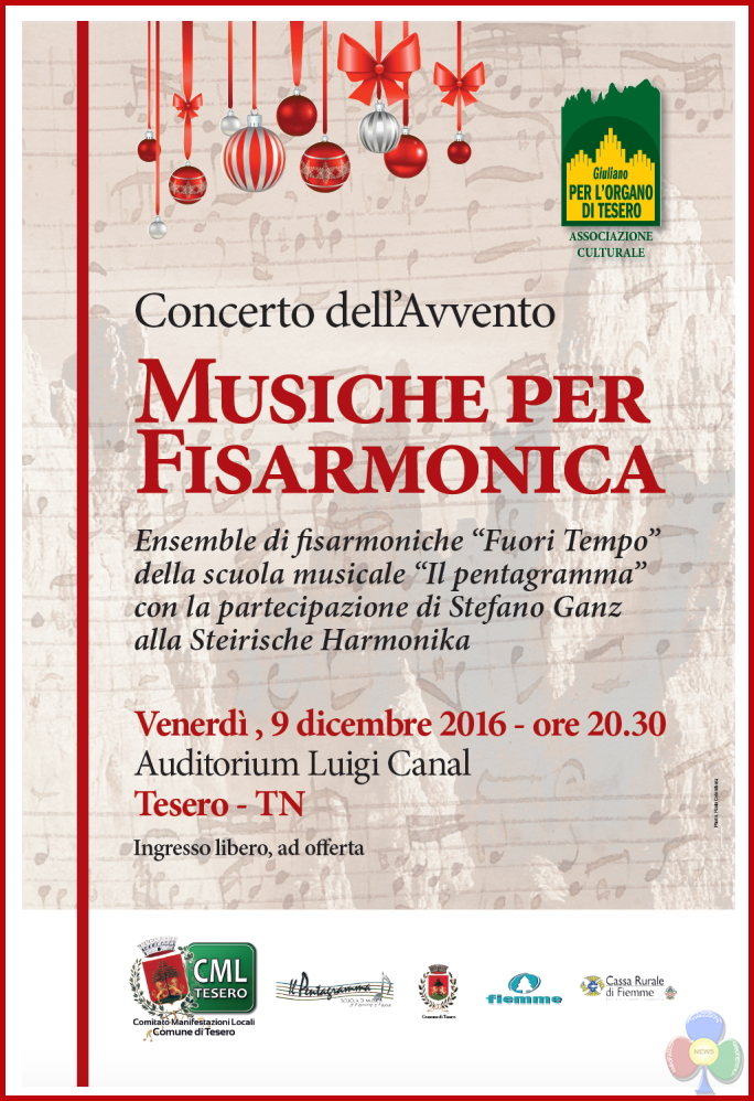 concerto fisarmoniche tesero avvento 2016 Concerto di fisarmoniche per lorgano di Tesero