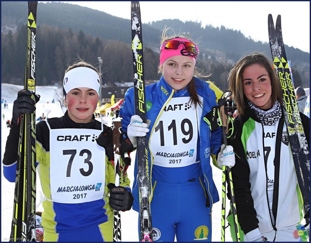marcialonga young 2017 podio femminile 1024x800 Marcialonga 2017 Gjerdalen cala il tris, 7541 concorrenti