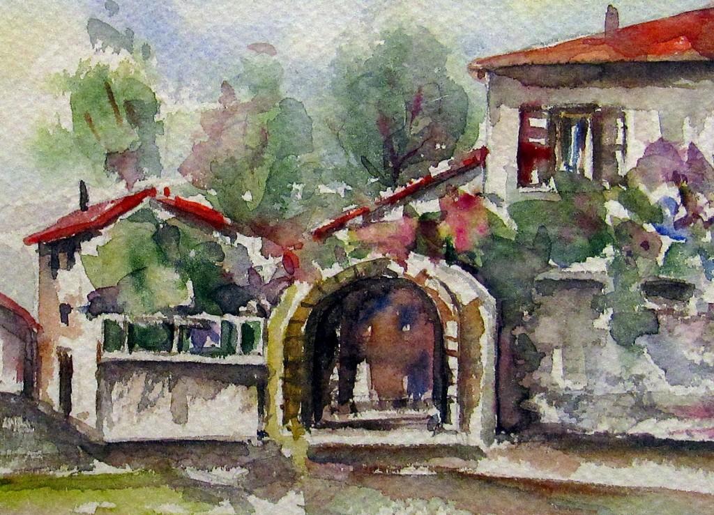 """Borgo Trentino acqaurello su carta cm. 23x30 1024x739 MOSTRA """"Forme dello Spirito – Forme della Mente"""""""