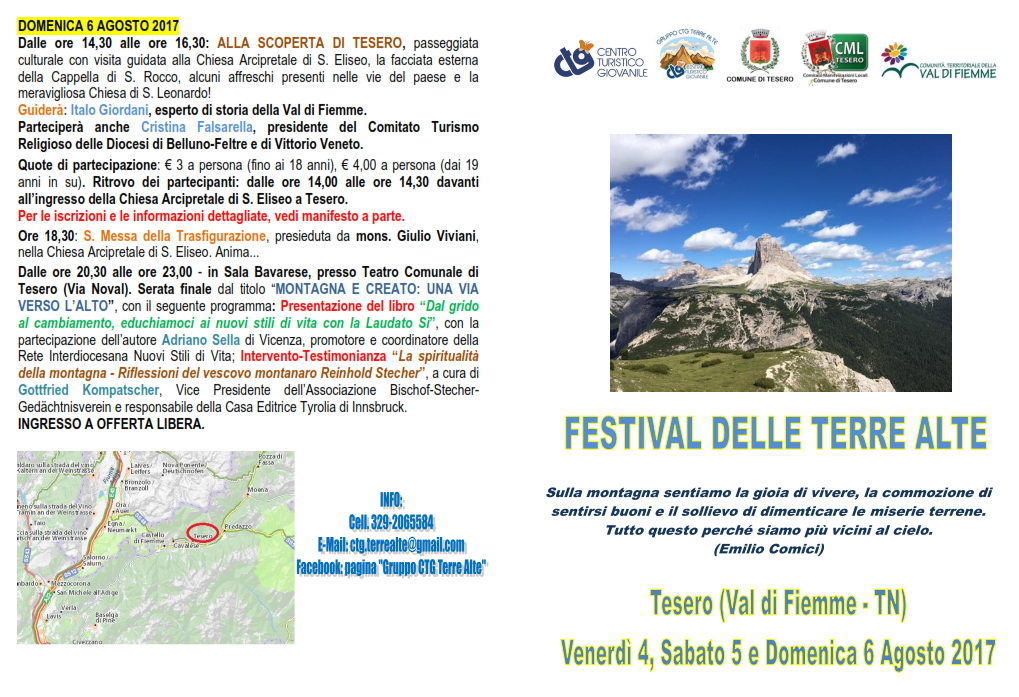 festival delle terre alte tesero A Tesero il Festival delle Terre Alte dal 4 al 6 agosto