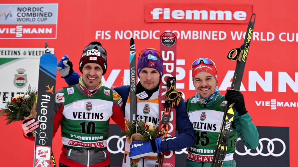 Individual Gundersen podio 1024x575 Conclusa la Coppa del Mondo di combinata nordica in Val di Fiemme