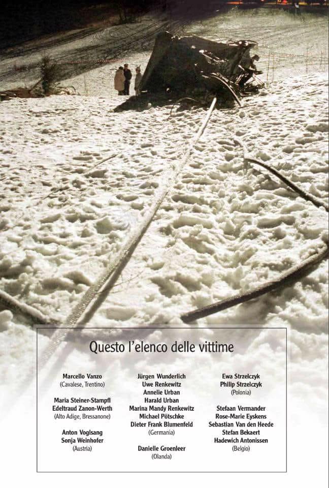 cermis 3 febbraio elenco vittime 3 febbraio, 20° anniversario della seconda tragedia del Cermis