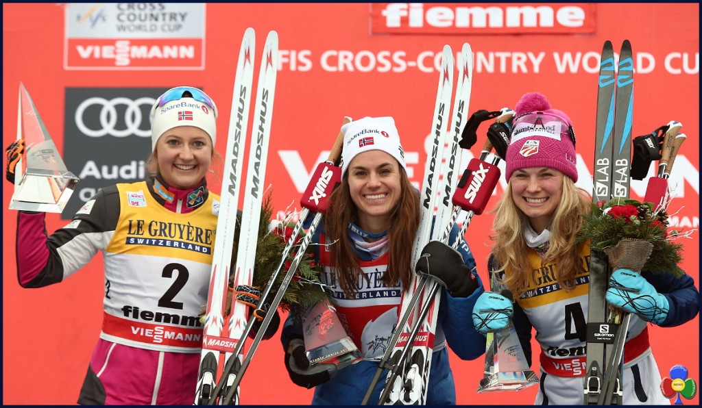 podio femminile tour de ski 1024x596 Tour de Ski, Dario Cologna e Heidi Weng firmano la Final Climb
