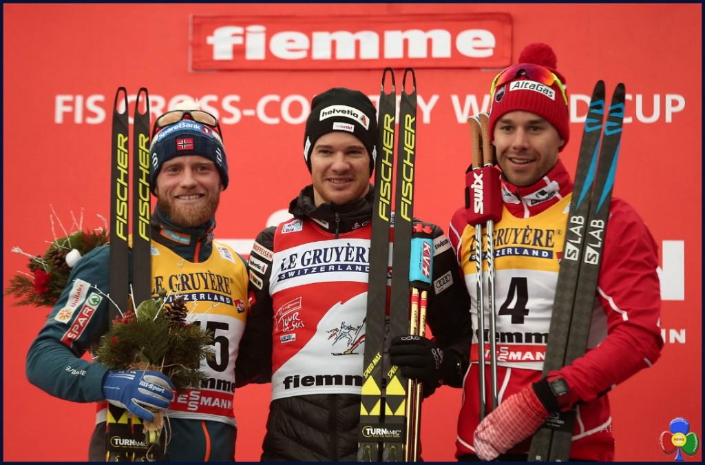 podio torur de ski 2018 1024x675 Tour de Ski, Dario Cologna e Heidi Weng firmano la Final Climb