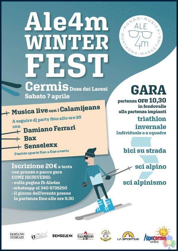 ale4m winter fest 2018 Ale4m Winter Fest Triathlon il 7 aprile al Cermis