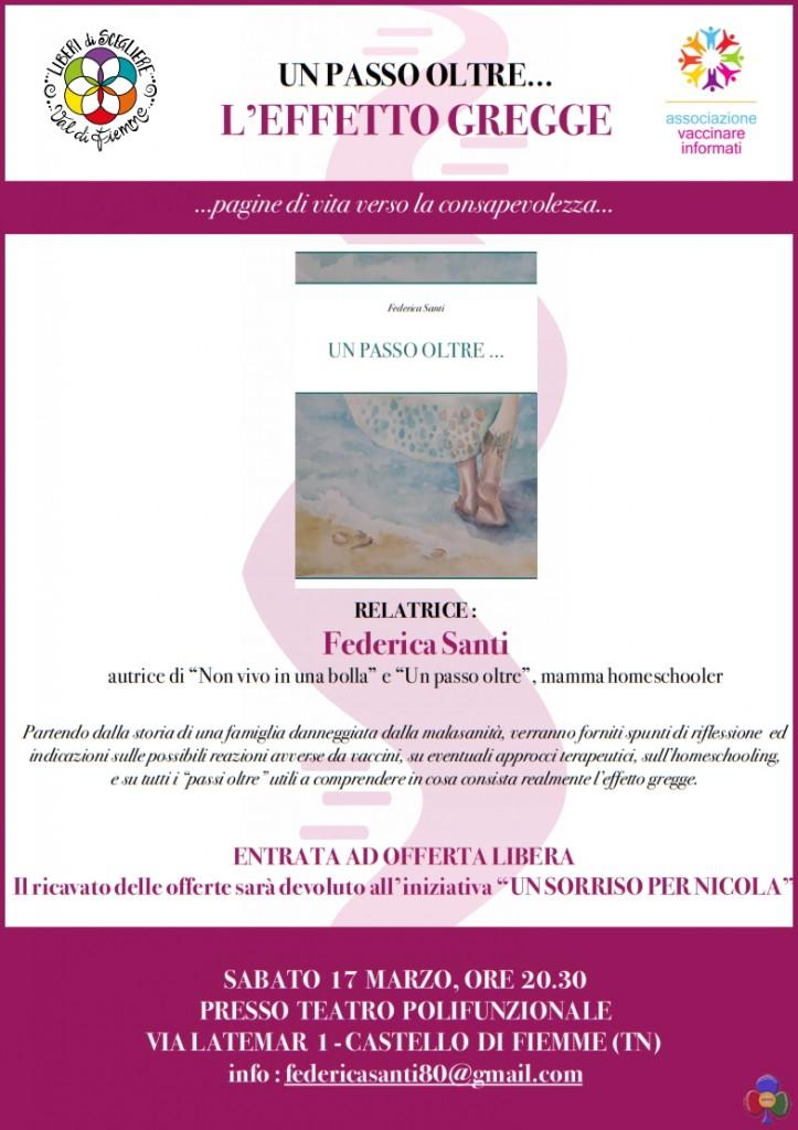 effetto gregge 723x1024 Vaccini, Federica Santi presenta il suo libro a Castello di Fiemme