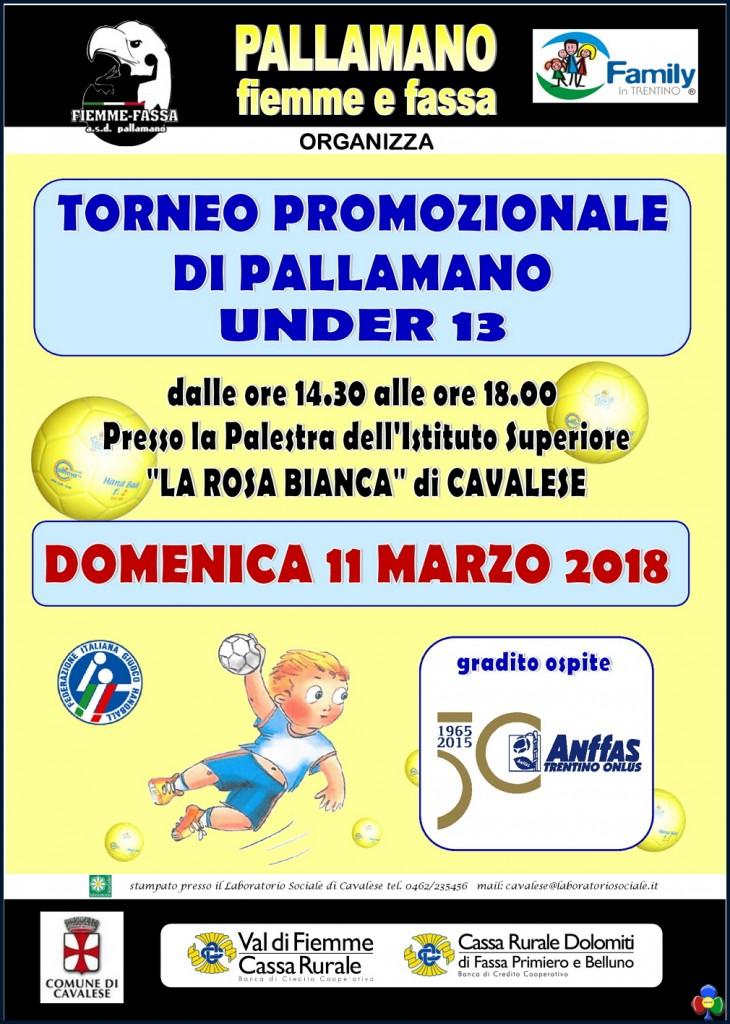 locandina torneo pallamano 2018 730x1024 Torneo di Pallamano a Cavalese 11 marzo 2018