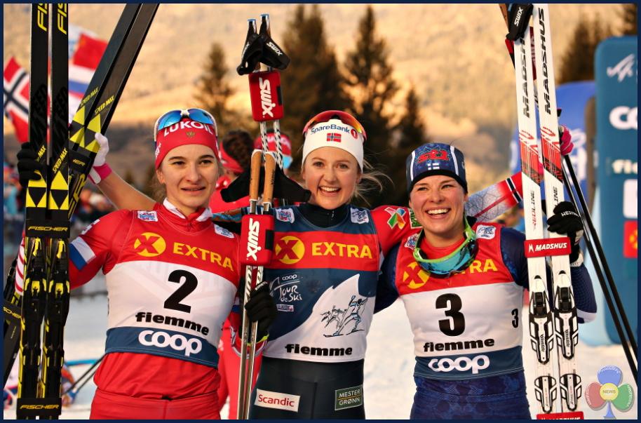 podio femminile tour de ski 2019 cermis Final Climb femminile sul Cermis al 13° Tour de Ski