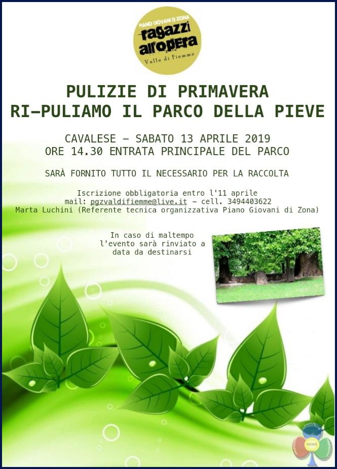 pulizie parco pieve cavalese 2019 Pulizie di Primavera al Parco della Pieve di Cavalese