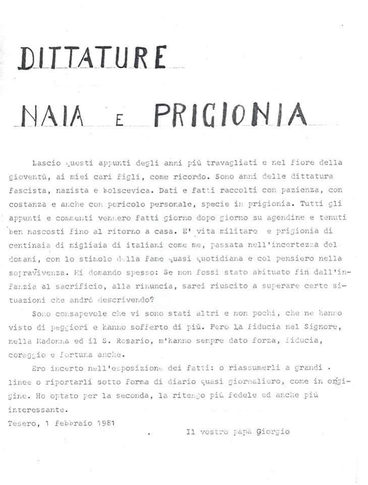 diario di prigionia giorgio zanon tesero Giorno della memoria, dal diario di prigionìa di Giorgio Zanon